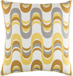 Surya Trudy Pillow Wave Lemon Yellow - Gray Multi