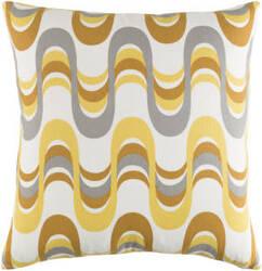 Surya Trudy Pillow Wave Lemon Yellow - Gray Multi