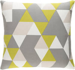Surya Trudy Pillow Geometry Lime - Gray - Beige