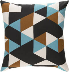 Surya Trudy Pillow Geometry Teal - Brown - Black