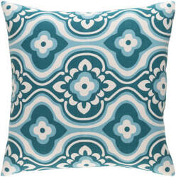 Surya Trudy Pillow Blossom Teal - White