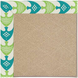 Capel Zoe Cane Wicker 1990 Angel Fish Green Area Rug
