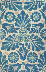 Company C Painted Medallion 10196 Blue Area Rug