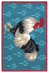 Company C Rooster 10771 Blue Area Rug
