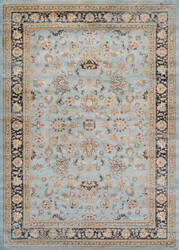 Couristan Zahara Farahan Amulet Light Blue - Black Area Rug