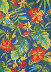Couristan Covington Tropical Orchid Azure - Green - Red Area Rug