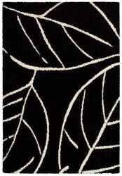 Couristan Moonwalk Laurel Leaf Black - White Area Rug