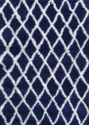 Couristan Urban Shag Temara Navy Blue - White Area Rug