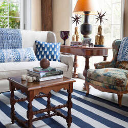 Dash And Albert Falls Village Stripe Navy Area Rug
