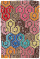 Dash And Albert Geodesic Micro Hooked Red Area Rug