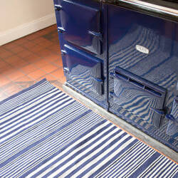 Dash And Albert Rugby Stripe Indoor-Outdoor Denim Area Rug