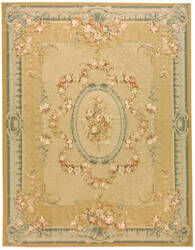Due Process Aubusson Versailles Gold - Blue Area Rug