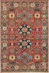 Due Process Jinan Shirvan Red - Navy Area Rug