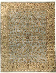 Due Process Kashmir Kashan Light Blue - Gold Area Rug