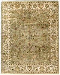 Due Process Thana Kashan Light Green - Cream Area Rug