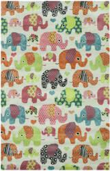 Eastern Rugs Kid's Elephant T149iv Ivory Area Rug