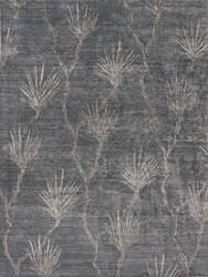 Exquisite Rugs Antique'd Silk Hand Knotted Dark Gray Area Rug