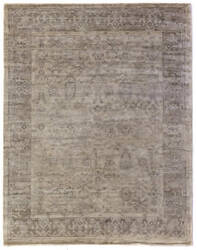Exquisite Rugs Antique'd Silk Hand Knotted Beige Area Rug