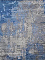 Exquisite Rugs Abstract Expressions Hand Knotted Blue - Gray Area Rug
