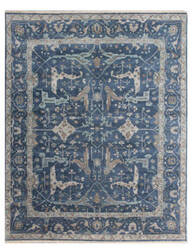 Exquisite Rugs Oushak Hand Knotted Blue Area Rug