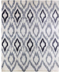 Exquisite Rugs Ikat Hand Knotted Blue - Gray Area Rug