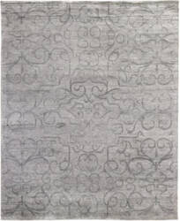 Exquisite Rugs Bamboo Silk Hand Knotted Light Silver Area Rug