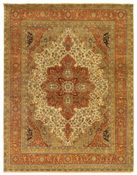 Exquisite Rugs Fine Serapi Hand Knotted Ivory - Rust Area Rug