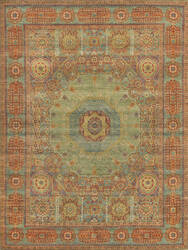Exquisite Rugs Mamluk Hand Knotted Green - Light Blue Area Rug