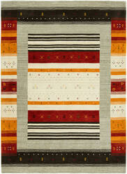 HRI Folk Fl-1128 Grey - Rust Area Rug