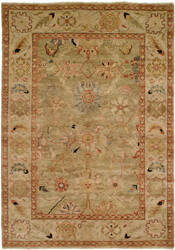 Hri Peshawar P-6 Light Green - Ivory Area Rug