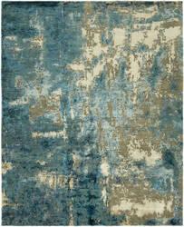 HRI Rosewood Ro-1275 Blue - Beige Area Rug