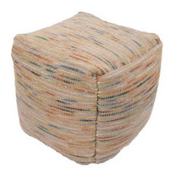 Jaipur Living Alma Pouf Almi Alm03 Sand Shell And Apricot Orange