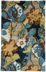 Jaipur Living Blue Petal Pusher Bl153 Black Iris and Weeping Willow Area Rug