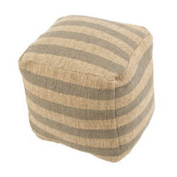 Jaipur Living Mason Pouf Metal Mas03 Four Leaf Clover And Warm Sand