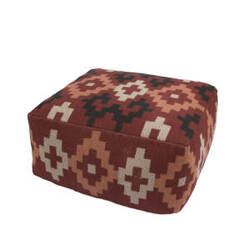 Jaipur Living Traditions Made Modern Pouf Shex-01 Mnp22 Ketchup And Bone White