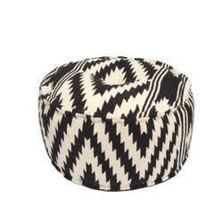 Jaipur Living Traditions Made Modern Pouf Geo Mnp25 Peat And Turtle Dove