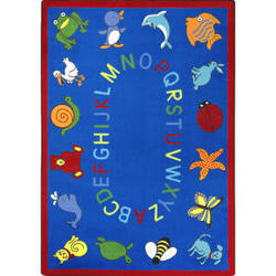 Joy Carpets Kid Essentials Abc Animals Blue Area Rug