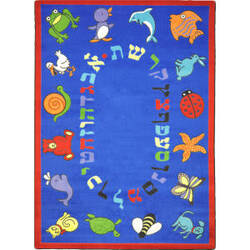Joy Carpets Kid Essentials Abc Animals Hebrew Blue Area Rug
