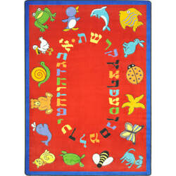 Joy Carpets Kid Essentials Abc Animals Hebrew Red Area Rug