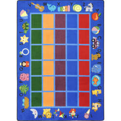 Joy Carpets Kid Essentials Alphabet Phonics Blue Area Rug