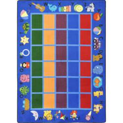 Joy Carpets Kid Essentials Alphabet Phonics Blue Area Rug