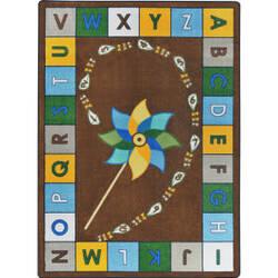 Joy Carpets Kid Essentials Alphabet Pinwheel Earthtone Area Rug