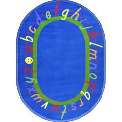 Joy Carpets Kid Essentials Alphascript Blue Area Rug