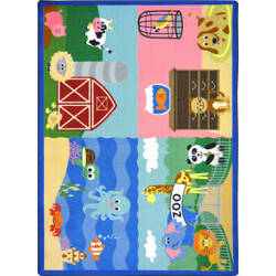 Joy Carpets Kid Essentials Animals All Around Multi Area Rug