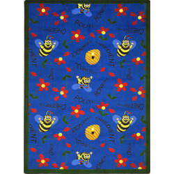 Joy Carpets Kid Essentials Bee Attitudes Blue Area Rug