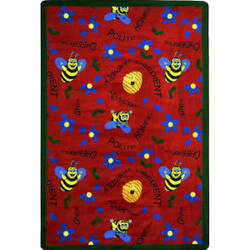 Joy Carpets Kid Essentials Bee Attitudes Red Area Rug