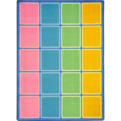 Joy Carpets Kid Essentials Blocks Abound Pastel Area Rug