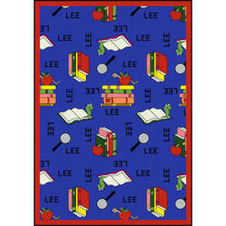 Joy Carpets Kid Essentials Bookworm Spanish Blue Area Rug