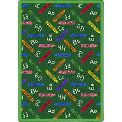Joy Carpets Playful Patterns Crayons Green Area Rug