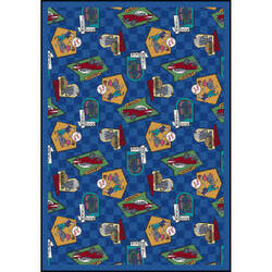 Joy Carpets Kaleidoscope Fabulous Fifties Blue Area Rug